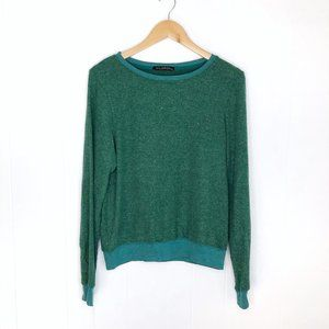 Wildfox Green Fleece Pullover Sweatshirt Size XS